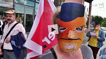 "Screenshot aus dem ver.di TV-Beitrag ""Wütende Orangen"""