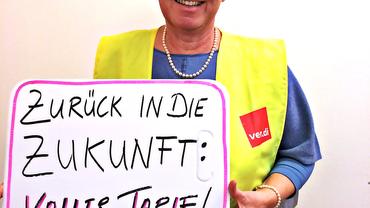 Jutta Krellmann zeigt sich solidarisch mit den Beschäftigten bei real,-