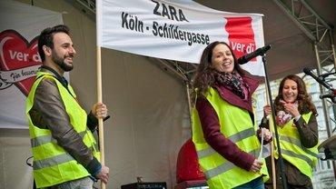 ZARA Mitarbeiter_innen Streiktag im Einzelhandel NRW