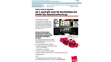 Flyer zur Esprit Tarifinfo