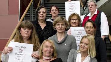 Soli-Aktion der Frauen im Handel für inhaftierte Gewerkschaftsaktive in Bangladesch