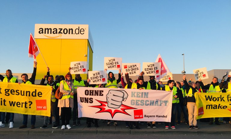 Streiks bei Amazon in Graben am 18. April 2019