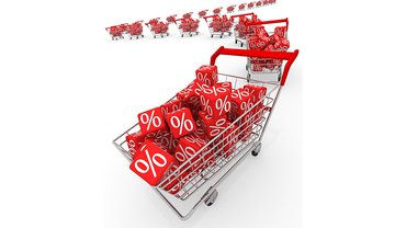 Handel Einzelhandel mehr Geld Prozent Einkaufswagen