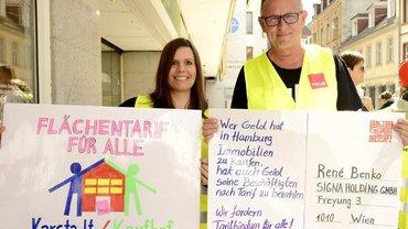 Streiks in Stuttgart zum Flächentarifvertrag für die Galeria Karstadt Kaufhof
