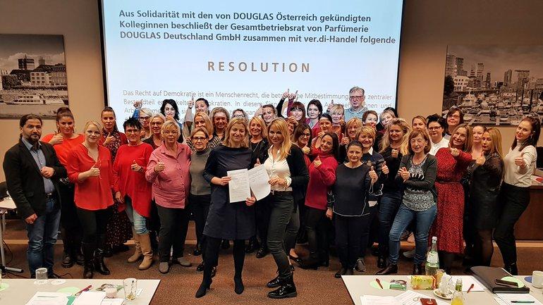 Douglas Solidarität Österreich GBR Gesamtbetriebsrat Resolution