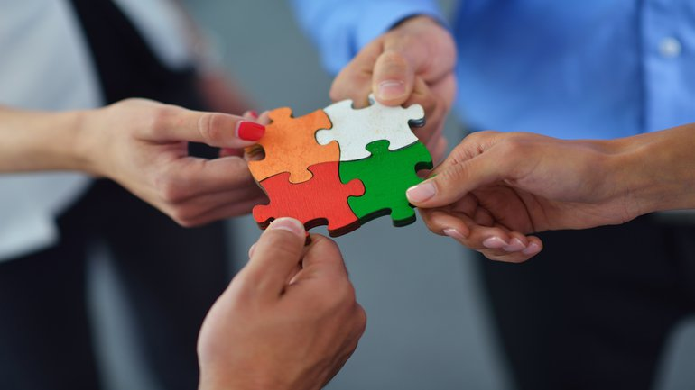 Team Puzzle Einigung Erfolg Lösung Abschluss