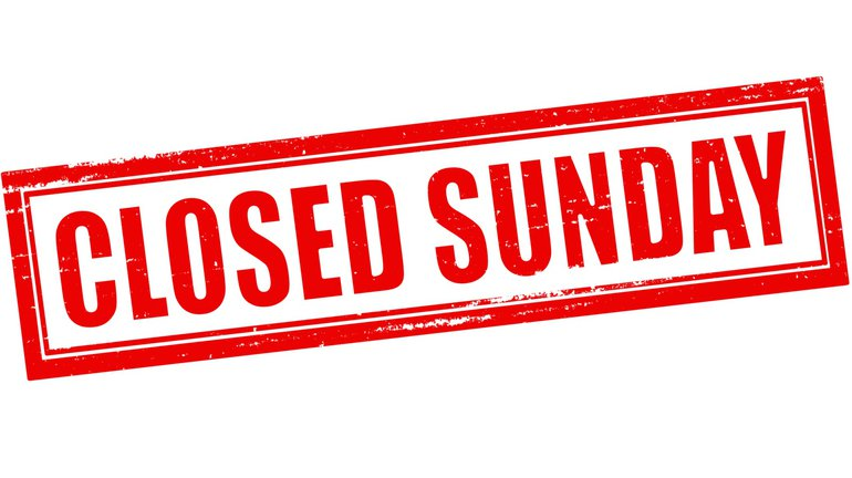 Sonntag geschlossen Sonntagsruhe Sonntagsöffnung Ladenöffnung