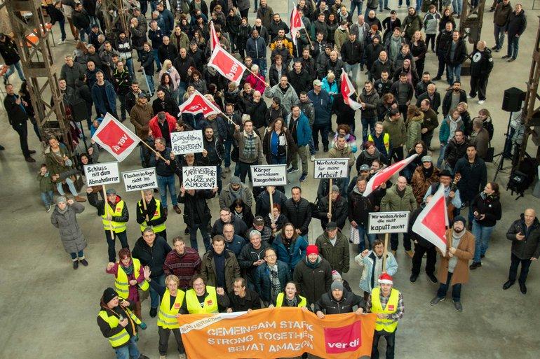 Streiks bei Amazon im Dezember 2019, hier in Bad Hersfeld