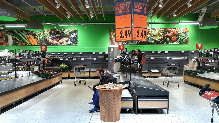 Corona Handel Panikkauf Einzelhandel Handel Virus Supermarkt