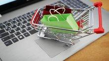 Einkaufswagen auf einem Laptop