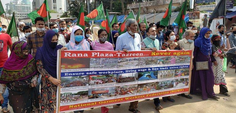 Demonstration der Textilgewerkschaft NGWF am 24. November 2020 in Dhaka