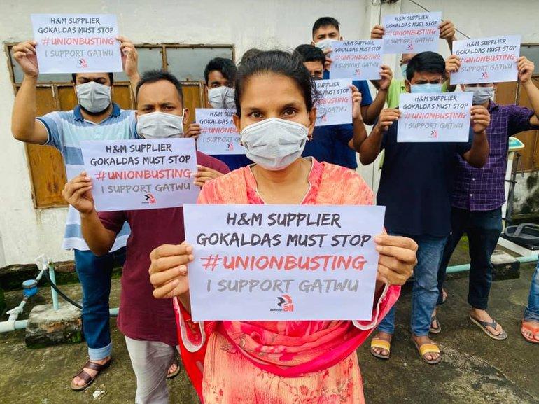 Protest beim H&M-Zulieferer Gokaldas in Indien