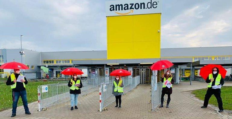 Streikposten bei Amazon Graben am 2. Mai 2021