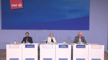 Stefanie Nutzenberger und Orhan Akman informieren über die Tarifrunden 2021