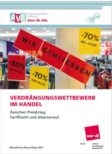 Titelseite der Broschüre Verdrängungswettbewerb im Handel -Zwischen Preiskrieg, Tarifflucht und Altersarmut