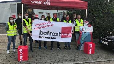 Streikende am 24. Juni 2021 bei Bofrost