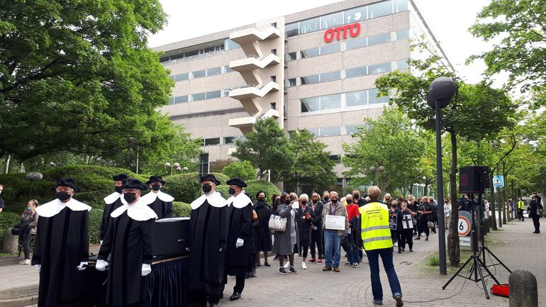 Trauerzug für die Arbeitsplätze bei Hermes Fulfilment in Hamburg am 28. August 2021