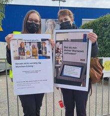Streikende Ikea-Beschäftigte am 21. September 2021