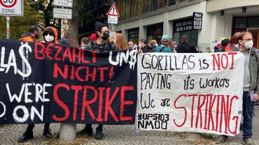 Demonstration am 6. Oktober 2021 gegen Entlassungen bei Gorillas in Berlin