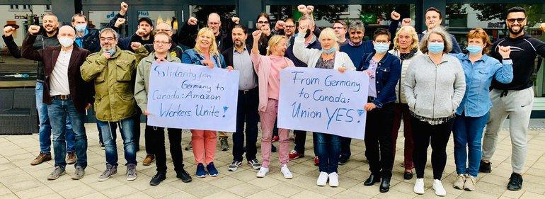 Amazon-Beschäftigte aus Deutschland sendeten am 2. Oktober 2021 solidarische Grüße an ihre Kolleginnen und Kollegen in Kanada