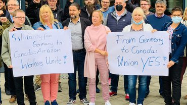 Amazon-Beschäftigte aus Deutschland schickten am 2. Oktober 2021 solidarische Grüße an ihre Kolleginnen und Kollegen in Kanada